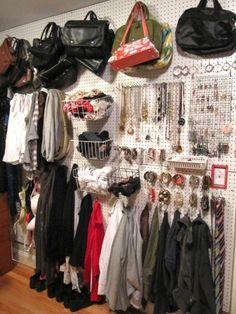 Closet Organizing…Peg Board Wall