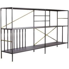 The New Prairie Horizontal Bookcase by Sauder Boutique features a black textured powdercoated metal frame with metal-plated brushed bronze accent tubing. Affordable Furniture, Cheap Furniture, Discount Furniture, Furniture Stores, Patio Furniture Sets, Home Office Furniture, Rustic Furniture, Antique Furniture, Furniture Assembly