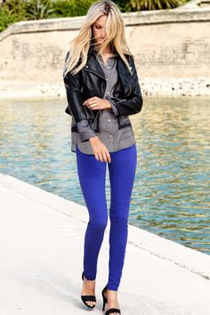 Pair cobalt blue pants and leather jacket- great idea. Cobalt Blue Pants, Bright Blue Pants, Purple Pants, Electric Blue Pants, I Love Fashion, Womens Fashion, Fashion Trends, Casual Outfits, Inspired Outfits