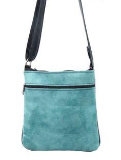 USA Handmade Cross Overbody Bag  SUEDE Green by HandmadeFashion, $29.99