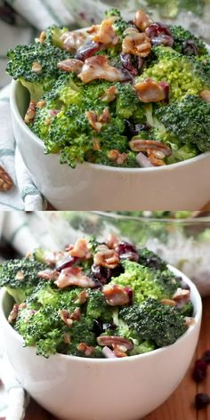 Salad This Broccoli Salad is a side dish staple recipe for all potlucks and parties. Made with broccoli, bacon, nuts and Craisins.This Broccoli Salad is a side dish staple recipe for all potlucks and parties. Made with broccoli, bacon, nuts and Craisins. Broccoli Slaw Recipes, Low Carb Broccoli Salad, Best Broccoli Salad Recipe, Broccoli Dishes, Chicken Salad Recipes, Side Recipes, Easy Dinner Recipes, Healthy Recipes, Food Dishes
