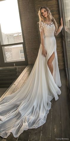 olivia bottega 2018 bridal long sleeves sweetheart neckline heavily embellished bodice side slit elegant a line wedding dress lace button back chapel train (3) mv -- Olivia Bottega 2018 Wedding Dresses #weddingdress
