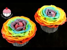 Make Rainbow Rose Cupcakes! Stunning Rainbow Flower Roses - A Cupcake Addiction How To Tutorial, Learn how to make these delicious treats, and heaps more at Mycupcakeaddiction!