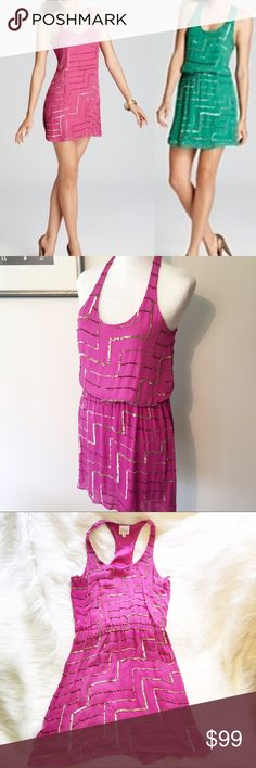 """Parker Magenta Racerback sequin dress M silk Beautiful dress, fully lined, pullover style with elasticized waist for a blouson effect. Bronze and gold tiny sequins in geometric design.  The dress is in fantastic shape – a cursory examination I can find just one spot that's missing sequins - about 1"""" long – see close-up photo. It is on the left by the waist. Size medium. 35"""" bust. 24-34"""" waist. Overall length 34"""" Parker Dresses"""