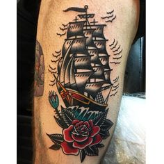 ship. #traditionaltattoo #shiptattoo #realtattoos #straightedge #nashville #murderclan #kustomthrills #besttradtattoos