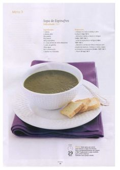Revista bimby 01 Tableware, Kitchen, Food, Spinach Soup, Illustrated Recipe, Cooking, Soups, Journals, Dinnerware