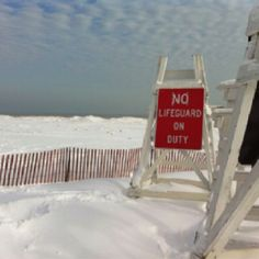 snow (not sand!) on shore of lake Michigan