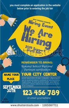 We are Hiring Poster or Banner Design. Job Vacancy Advertisement Concept on dark blue background with speakers, hands and yellow label. Hiring Poster, Drive Poster, We Are Hiring, Jobs Hiring, Poster Layout, Poster Ideas, Graphic Design Flyer, Dark Blue Background, Job Posting
