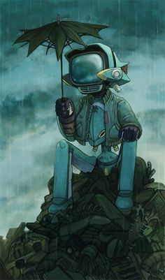 Canti - Lonely Robot - revisited by chewibunny (FLCL). Illustrations, Illustration Art, Furi Kuri, Mega Anime, Character Art, Character Design, Steampunk, Film D'animation, Robot Art