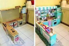 Wie zegt dat een speelkeuken een fortuin moet kosten. Met enkele kartonnen dozen maakte deze Filipijnse mama een echte droomkeuken voor haar dochtertje.