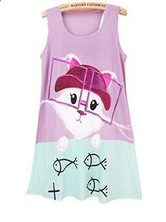 YICHUN Womens Cat Vest Summer Sleeveless Long Loose Tops Shirt Tanks Mini Dress. More description on the website.