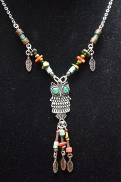 gemstone owl necklace earthtone feathers turquoise coral heishi in native american inspired tribal boho belly dancer and hipster style