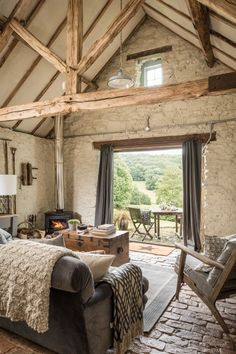 love Modern Rustic interiors love this modern rustic barn farmhouse with bifold french doors and views to the terrace and rustic brick floor. Click through for more modern rustic farmhouse interiors ideas you'll love Modern Rustic Decor, Rustic Home Design, Modern Country, Country Decor, Rustic Barn Decor, Rustic Style, Barn Home Designs, Rustic Barn Homes, Rustic Mantel