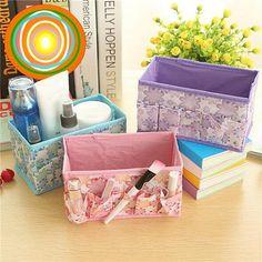 Flower Non-woven Fabrics Brushes Makeup Cosmetic Folding Storage Box Case Organizer