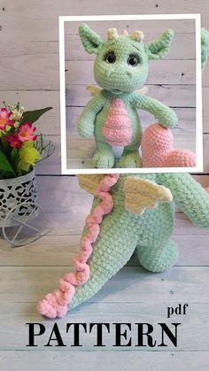 Crochet Dragon Pattern, Easter Crochet Patterns, Crochet Patterns Amigurumi, Crochet Dolls, Crochet Yarn, Crochet Dinosaur Pattern Free, Booties Crochet, Amigurumi Toys, Diy Crochet Projects