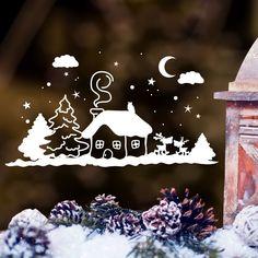 """Wandtattoo Loft Fensterbild """"Winter Häuschen mit niedlichen Hirschen"""""""