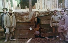 Boxes with the remains of the Imperial family (minus Alexeii and Anastasia), Dr Botkin, and the Imperial servants after having been retrieved from Koptyaki forest - 1991.