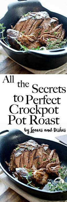 Want to know how to make a perfect tender slow cooked beef pot roast in the slow cooker using a chuck roast? All the answers are right here. This recipe is super easy and is simply the best! Like something you find on Pioneer woman but with no onion soup. Quick and delicious! via @loavesanddishes