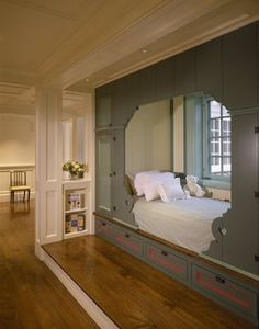 Alcove bed in gray. Photo credit: Catalano Architects