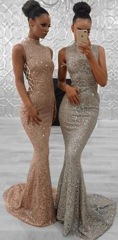 dc7e75fdc41 Sparkly High Neck Lace Mermaid Fashion Trend Modest Elegant Formal Long  Prom Dresses