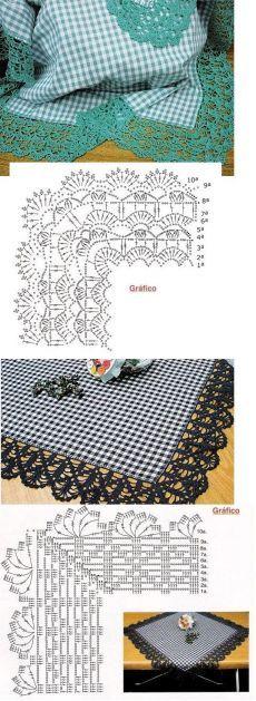 Beautiful Crochet borders with corners ! Crochet Boarders, Crochet Edging Patterns, Crochet Lace Edging, Crochet Motifs, Crochet Diagram, Crochet Chart, Thread Crochet, Crochet Designs, Crochet Doilies