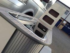 Curved VW T5 furniture flat pack furniture SWB kitchen camper unit in all carbon