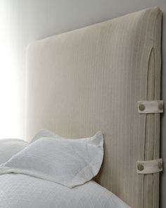 """""""Mabel"""" Slipcovered Headboards by Vanguard at Neiman Marcus."""