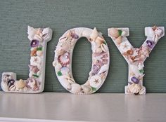 """SHELL LETTERS -- """"JOY"""" , Christmas, beach decor, nautical letters, shells, pearls!!! Bebe'!!! Love these nautical holiday letters of """"JOY""""!!!"""