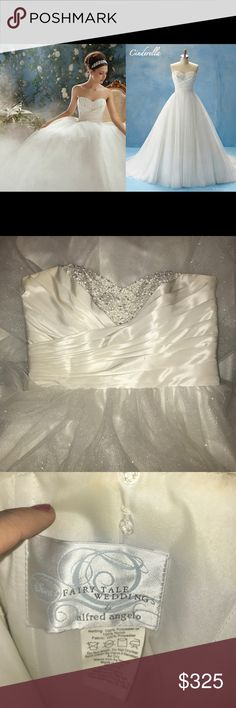 Cinderella Wedding Gown This is from the now unavailable Disney Bridal Line! Cinderella Wedding Gown size 16, worn once, no alterations only bustling. Will need dry cleaned. Alfred Angelo Dresses Wedding