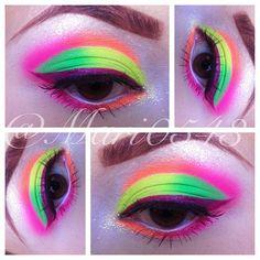 Wanted to play with neons today I used my Sleek Acid Palette for this look Nyx Eyeshadow, Yellow Eyeshadow, Purple Eyeliner, Makeup Art, Beauty Makeup, Makeup Stuff, Makeup Eyes, Ibiza, Sweet Makeup