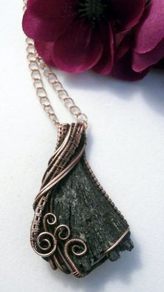 Black Kyanite Fan, Wire Wrapped Pendant Necklace, Handmade Wire Weaved Jewelry