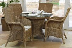 Wexford Dining, Wexford Dining Table, Dining Arm Chairs , Frame colour shown - Natural Wash Cushion fabric - Brooklyn