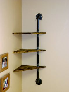 $68 Corner Pipe Shelf Industrial Shelves Three by VulpineYooper