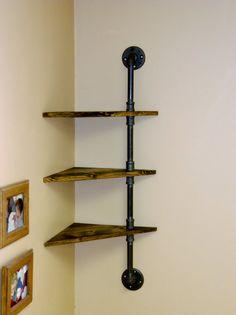 $68 Corner Pipe Shelf Industrial Shelves Three by VulpineYooper