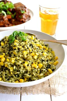 Green Mexican Rice   found the rice to be super light, fluffy and yummy!  love that this gets spinach in me without me noticing.  a little less liquid would probably lead to a less light rice, which I prefer, so I'll be trying it with less next time.  I'll also reduce the corn a bit...found it to be too much.