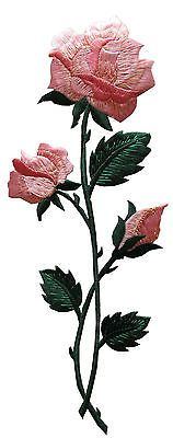 "4525L 10"" Embroidery Iron On Pink Rose Flower Applique Patch"