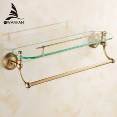 Type: Bathroom Shelves Brand Name: my WANFAN Mounted: Corner Material: Brass Install Style: Bolt Inserting Type Holder Surface Finishing: Brass Shelf Material: Glass Model Number: Number of Tiers: Single Tier Color: Antique bronze/Gold/Black Finish Glass Shower Shelves, Bathroom Shelves Over Toilet, Glass Shelves Kitchen, Bathroom Shelf Decor, Small Bathroom Sinks, Bathroom Design Small, Bathroom Fixtures, Black And Gold Bathroom, Gold Bathroom Accessories
