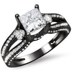 14k Black Gold 1 1/2ct TDW Princess Cut Diamond Engagement Ring (G-H, SI1-SI2)