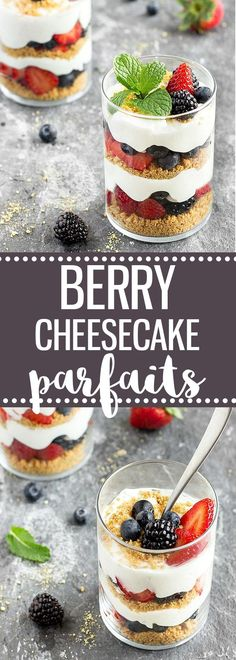If you are looking for an easy, quick, and no-bake summer dessert, try these lighten-up Berry Cheesecake Parfaits.