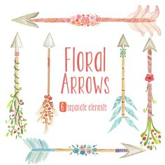 Watercolor Floral Arrows Clipart - tribal arrows, flowers, wedding invitation, hand painted by MartekArt on Etsy https://www.etsy.com/listing/234771470/watercolor-floral-arrows-clipart-tribal