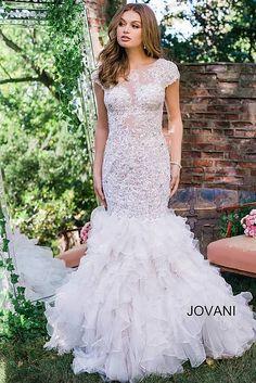 Off White Mermaid Cap Sleeve Embroidered Wedding Dress JB39511