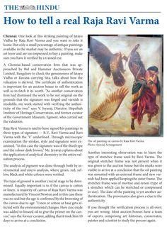 How to tell a Real Raja Ravi Varma - The Hindu, Chennai Raja Ravi Varma, Buy Paintings, Chennai, Lovers Art, To Tell, That Look