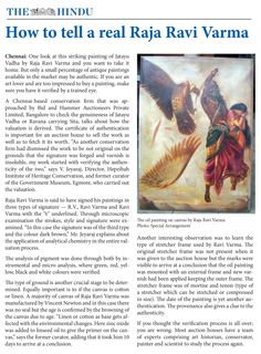How to tell a Real Raja Ravi Varma - The Hindu, Chennai