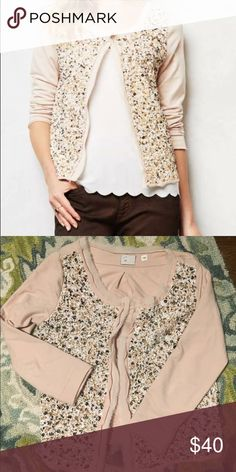 Anthropologie postmark embellished Cardigan Like new condition size Xs but runs bigger ! Beautiful blush pink, perfect for Valentine's Day! Anthropologie Sweaters Cardigans