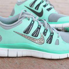 Womens Nike Free 5.0 Swarovski Rhinestones Green Glow