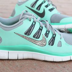 Nike Free 5.0 Swarovski Rhinestones Green Glow