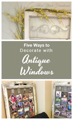 I love old windows. Here's five ways I have decorated using antique windows in my home. Antique Windows, Old Windows, Red Bricks, Decals, Antiques, Projects, Diy, Antiquities, Do It Yourself