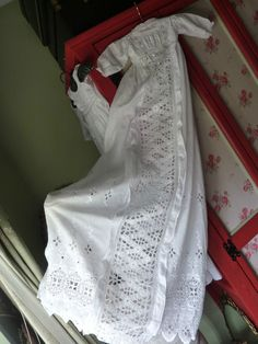 ANTIQUE  CHRISTENING GOWN BRODERIE ANGLAISE WHITE WORk LACE 46 inch needs repair
