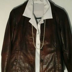 Brown Leather Jackey Woman's waist  length lined leather jacket is made by Wilson leather  Maxima.  No tears or stains item in GUC . Wilsons Leather Jackets & Coats Blazers