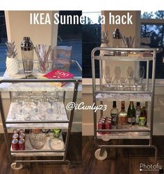 Diy kitchen ikea hacks bar carts New Ideas Ikea Bar Cart, Diy Bar Cart, Gold Bar Cart, Bar Cart Styling, Bar Cart Decor, Bar Carts, Drinks Trolley Ikea, Bar Trolley, Apartment Furniture